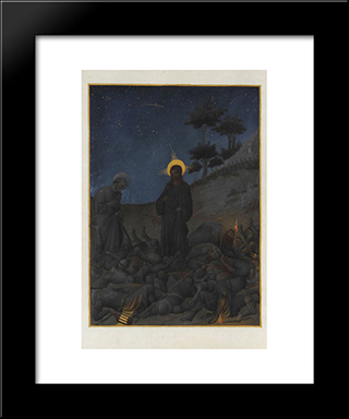 Christ In Gethsemane: Modern Black Framed Art Print by Limbourg brothers