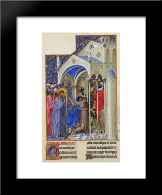 Curing A Possessed Woman: Modern Black Framed Art Print by Limbourg brothers