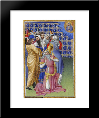 David Beseeches God Against Evildoers: Modern Black Framed Art Print by Limbourg brothers