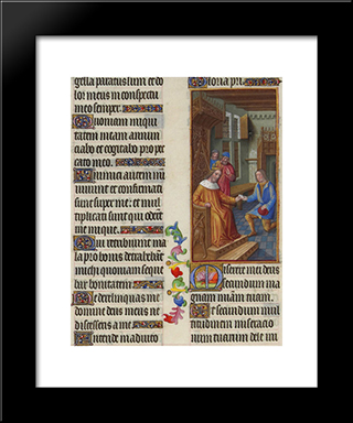 David Entrusts A Letter To Uriah: Modern Black Framed Art Print by Limbourg brothers