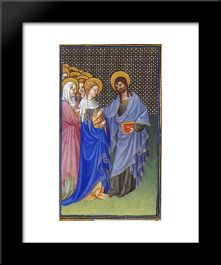 David Foresees The Mystic Marriage Of Christ And The Church: Modern Black Framed Art Print by Limbourg brothers