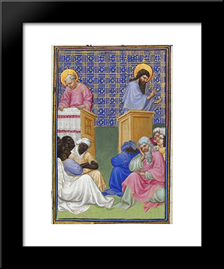 David Foresees The Preaching Of The Apostles: Modern Black Framed Art Print by Limbourg brothers