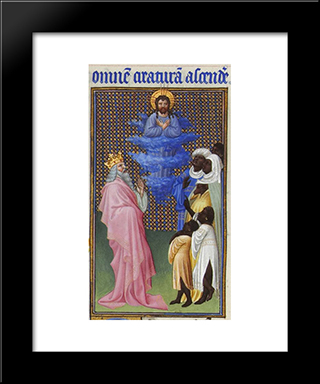 David Imagines Christ Elevated Above All Other Beings: Modern Black Framed Art Print by Limbourg brothers