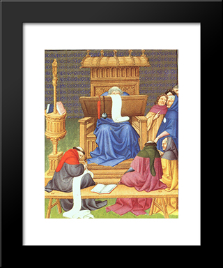 Diocres Expounding The Scriptures: Modern Black Framed Art Print by Limbourg brothers