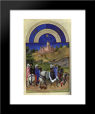 Facsimile Of August Hawking: Modern Black Framed Art Print by Limbourg brothers