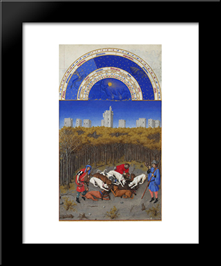 Facsimile Of December Hunting Wild Boar: Modern Black Framed Art Print by Limbourg brothers
