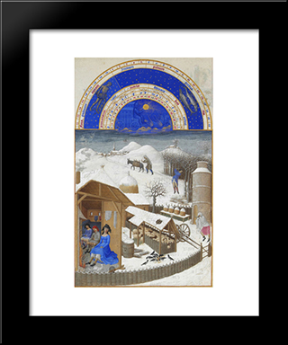 Facsimile Of February Farmyard Scene With Peasants: Modern Black Framed Art Print by Limbourg brothers