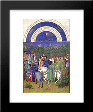 Facsimile Of May Celebrating May Day Near The Town Of Riom In The Auvergne: Modern Black Framed Art Print by Limbourg brothers