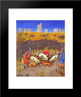 Fascimile Of December Hunting Wild Boar: Modern Black Framed Art Print by Limbourg brothers