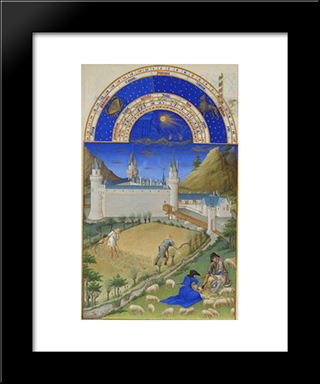 Fascimile Of July Harvesting And Sheep Shearing: Modern Black Framed Art Print by Limbourg brothers