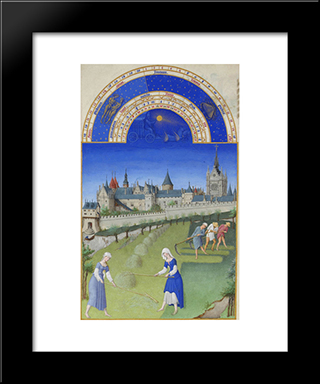 Fascimile Of June Haymaking: Modern Black Framed Art Print by Limbourg brothers