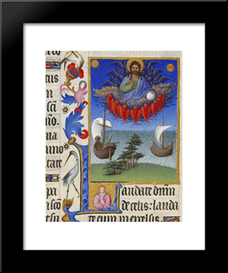 God In Majesty: Modern Black Framed Art Print by Limbourg brothers