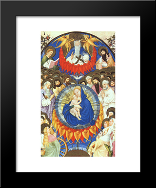 Heavenly Host: Modern Black Framed Art Print by Limbourg brothers