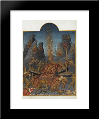 Hell: Modern Black Framed Art Print by Limbourg brothers