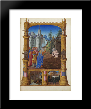 Job Mocked By His Friends: Modern Black Framed Art Print by Limbourg brothers