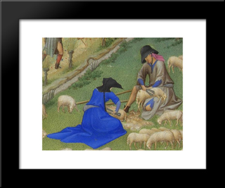 Juillet Sheep Shearing: Modern Black Framed Art Print by Limbourg brothers