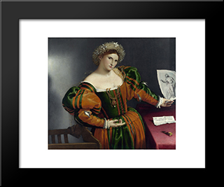 A Lady With A Drawing Of Lucretia: Modern Black Framed Art Print by Lorenzo Lotto