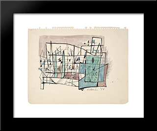 Abstract Composition: Modern Black Framed Art Print by Louis Schanker