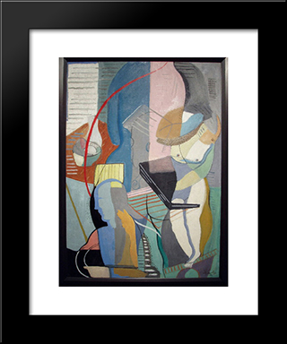 Abstract With Instruments: Modern Black Framed Art Print by Louis Schanker