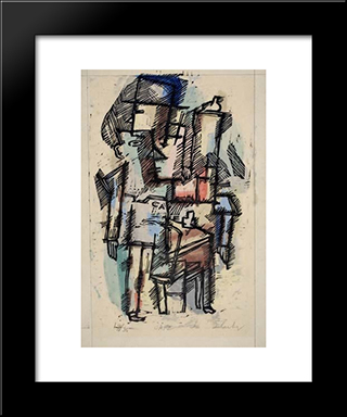 Cafe #1: Modern Black Framed Art Print by Louis Schanker