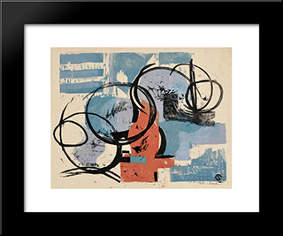 Circle Image: Modern Black Framed Art Print by Louis Schanker