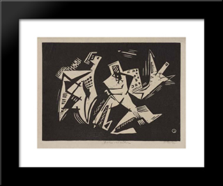 Forms In Action: Modern Black Framed Art Print by Louis Schanker