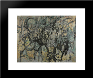 Green Forms: Modern Black Framed Art Print by Louis Schanker