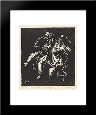 Polo: Modern Black Framed Art Print by Louis Schanker