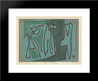 Study In Green And Black: Modern Black Framed Art Print by Louis Schanker