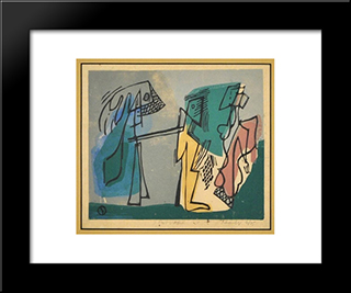 Three Figures: Modern Black Framed Art Print by Louis Schanker