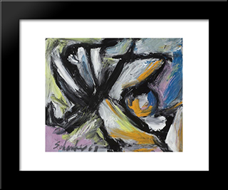 Untitled Abstract Composition: Modern Black Framed Art Print by Louis Schanker