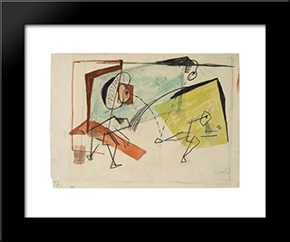 Wall Handball (Study): Modern Black Framed Art Print by Louis Schanker