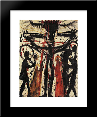 Crucifixion (Kreuzigung): Modern Black Framed Art Print by Louis Soutter