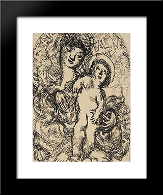 La Vierge Et L'Enfant: Modern Black Framed Art Print by Louis Soutter