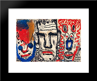 Masks: Modern Black Framed Art Print by Louis Soutter