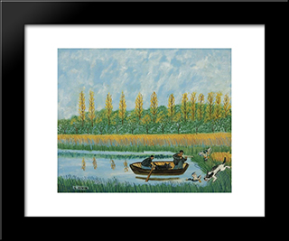 Chasse Aux Canards: Modern Black Framed Art Print by Louis Vivin