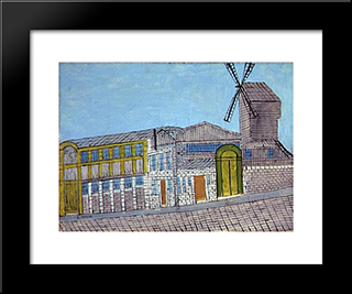 Le Moulin De La Galette: Modern Black Framed Art Print by Louis Vivin