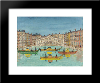 Le Pont Du Rialto: Modern Black Framed Art Print by Louis Vivin