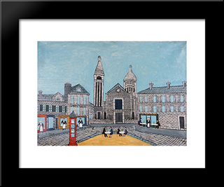 Place Du Theatre (City Square With Red Phone Booth): Modern Black Framed Art Print by Louis Vivin