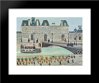 Quai Aux Fleurs: Modern Black Framed Art Print by Louis Vivin