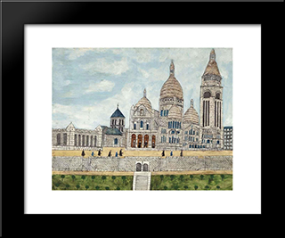 Sacre Coeur: Modern Black Framed Art Print by Louis Vivin