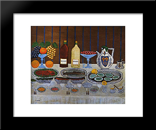 Still Life: Modern Black Framed Art Print by Louis Vivin