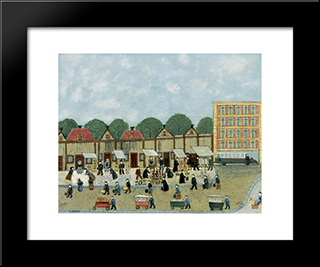 Street Market: Modern Black Framed Art Print by Louis Vivin