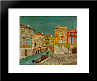 Venice Canal Scene With A Bridge: Modern Black Framed Art Print by Louis Vivin