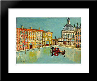 Venice Canal Scene With A Church: Modern Black Framed Art Print by Louis Vivin