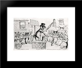 A Free Lecture In Catville The Learned Professor Was Expounding His Theories To An Attentive Audience: Custom Black Or Gold Ornate Gallery Style Framed Art Print by Louis Wain