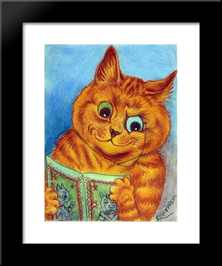 A Good Read: Custom Black Or Gold Ornate Gallery Style Framed Art Print by Louis Wain