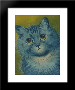 Blue Cat: Custom Black Or Gold Ornate Gallery Style Framed Art Print by Louis Wain