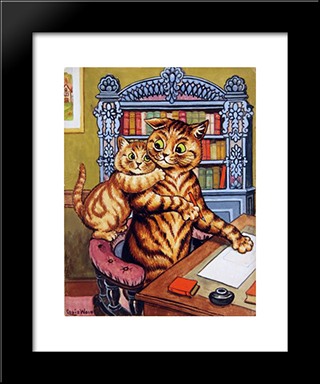 Daddy Can You Let Me Pass On Your Love To Mother From Me: Custom Black Or Gold Ornate Gallery Style Framed Art Print by Louis Wain