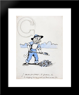 G Stands For Georgie, A Gardener. He Is Digging Away Just As Hard As He Can Be: Modern Black Framed Art Print by Louis Wain